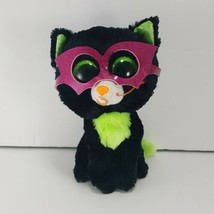 TY Beanie Boo Jinxy Glitter Eyes Masked Black Cat Halloween Plush Stuffe... - $11.87