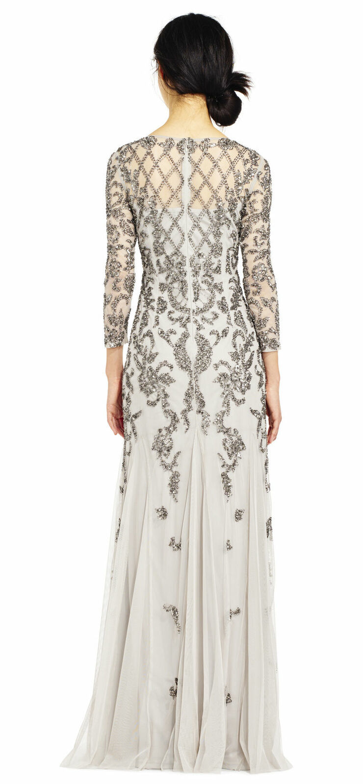 Adrianna Papell Long Sleeve Beaded Gown, Silver, 0