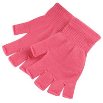 Pink 2 Pair Unisex Soft Half Finger Gloves Warm Knitted Mittens Fingerless - $263,76 MXN
