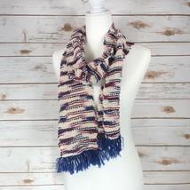 Handmade Navy Blue Ivory Striped Open Scarf, Warm Soft Crocheted Neck Scarf - $19.79