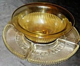 Relish Tray Heavy Etched Cut Glass (5 piece) AA20-CD0092 Vintage