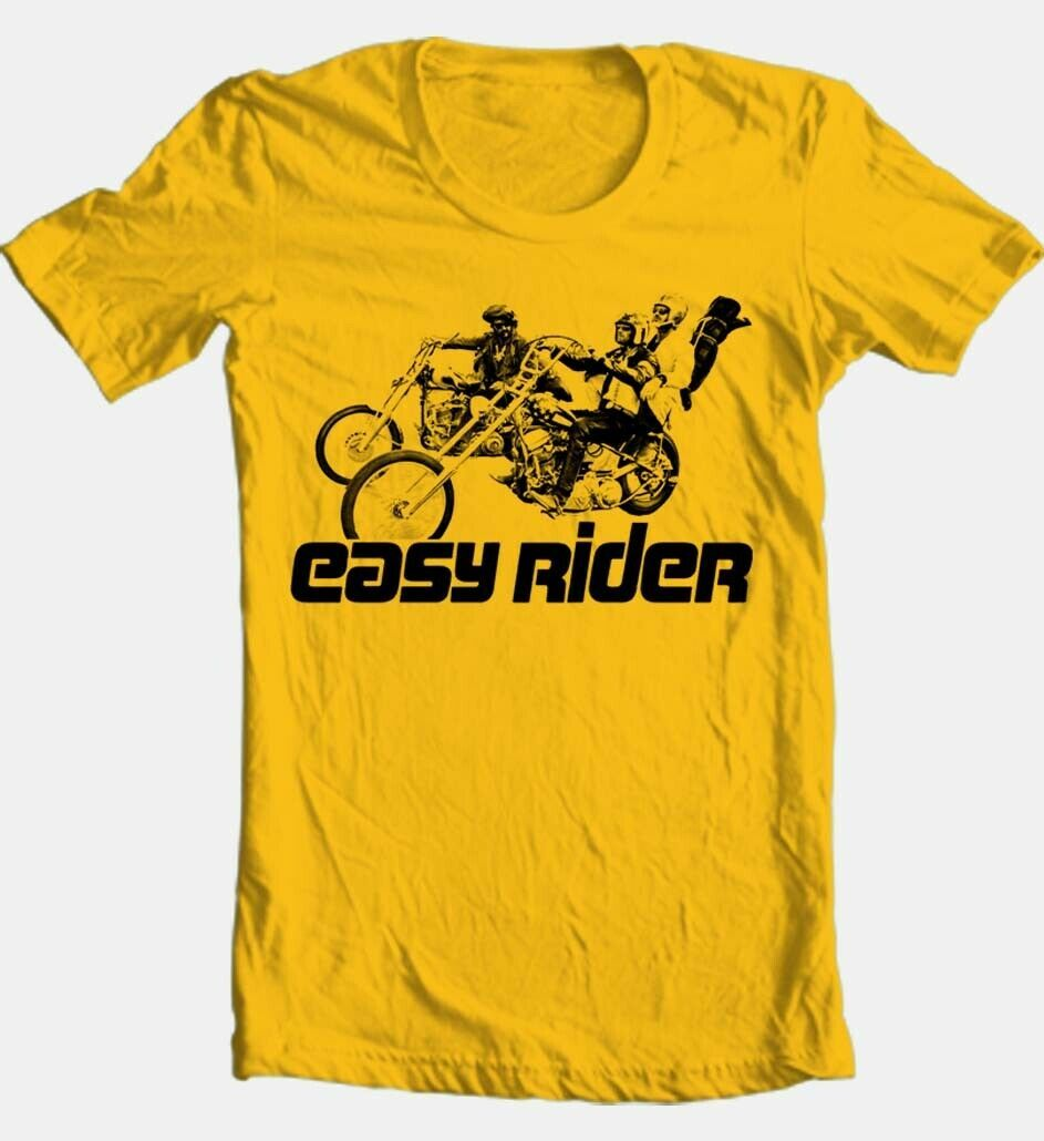 Easy rider t shirt retro classic 1970 s movie 100  cotton graphic film gold tee tshirt