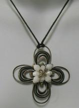 Vintage Signed Kien Wired Silver-tone Milk Glass Bead Flower Pendant Nec... - $22.99