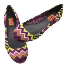 NEW! Missoni Womens Fuschia Ballet Flats Shoes - Purple Floral Chevron - $84.95