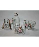 Japan -Set of 3- Vintage Pink Rose Basset Hound Dog Figurines   #2321 - $28.00