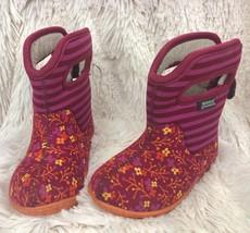 Bogs Kids Baby Winter Snow Boots size 6 Waterproof PINK Stripes/Flowers ... - £37.59 GBP