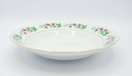 Gibson Housewares China Christmas Holly Berries Rimmed Soup Bowl  - $5.93