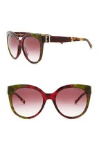 Burberry The Buckle Collection Round Sunglasses Green Havana/Gold/Red Gradient - $148.37