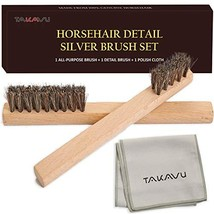 Horsehair Detail Brush Set, 2 Silver Cleaning Brushes and Polish Cloth for Detai