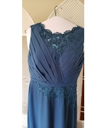 Mother of the bride evening gown Formal dress lace rhinestone Sz 12 ink ... - $75.00