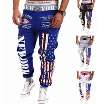 2018 New Fashion Men's Personality American Flag Print Pants Men's Casua... - $27.54