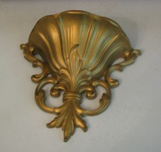 HOMCO Home Interiors Wall Pocket Gold Holds Vines Flowers Vintage USA - $6.92