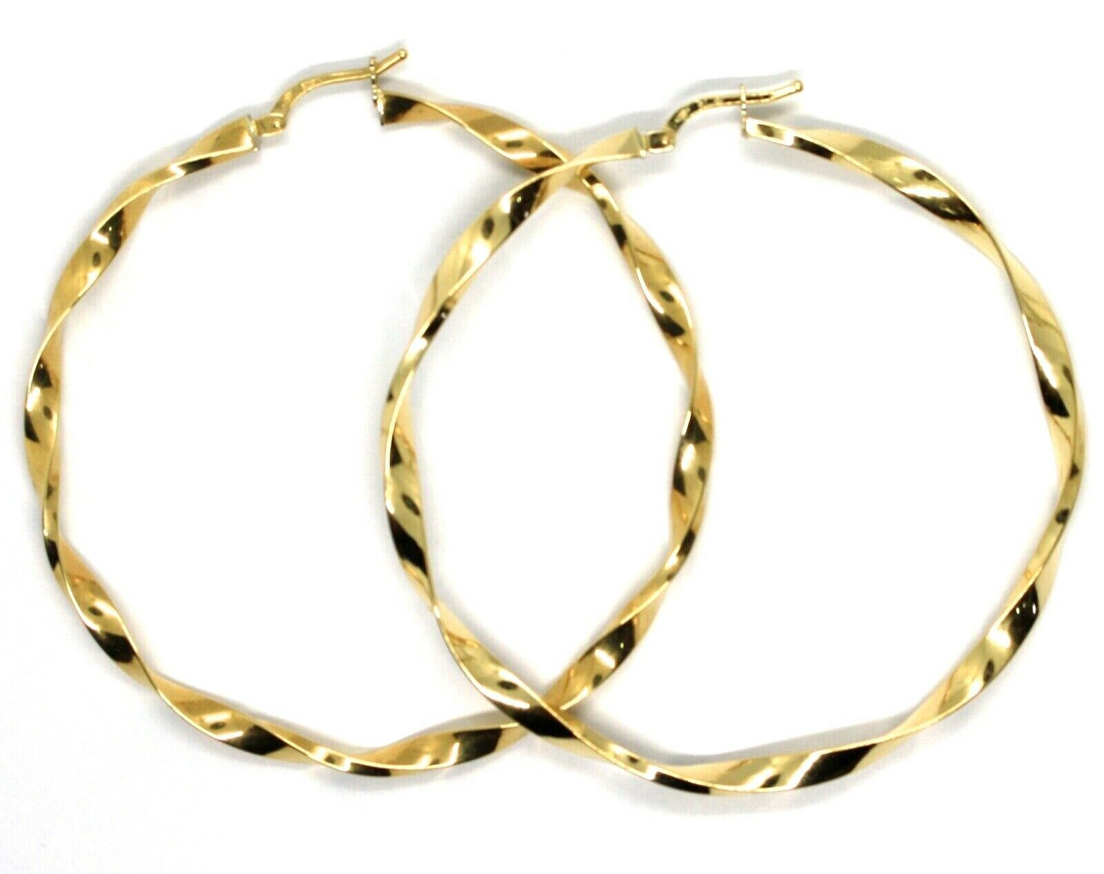 18K YELLOW GOLD BIG CIRCLE HOOPS FACETED BRAID ROPE EARRINGS 55 MM x 3 MM, ITALY
