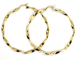 18K YELLOW GOLD BIG CIRCLE HOOPS FACETED BRAID ROPE EARRINGS 55 MM x 3 MM, ITALY image 1