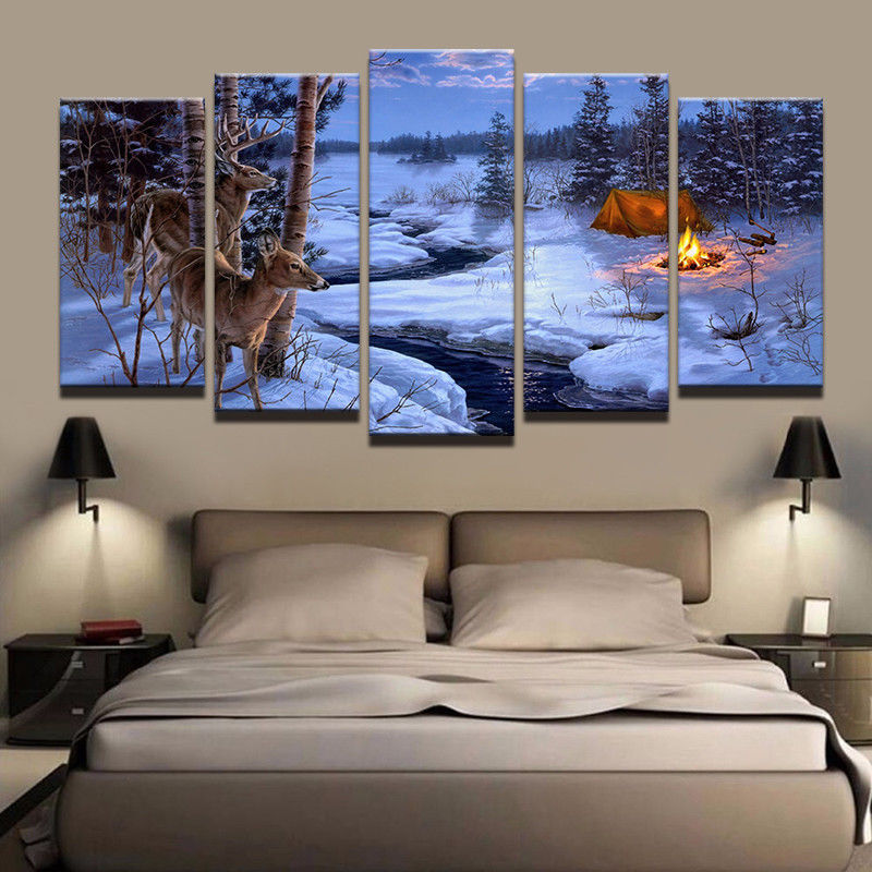 Large Framed Deer Nature Camping Fire Wildlife Canvas Wall Art Print Decor 5 pc for sale  USA