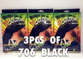 LOTS OF 3 KING. J SPANDEX CAP FOR DREADLOCKS SUPER LONG CAP UNIXEX BLACK... - $11.39