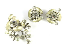 Costume Fashion Frosted Teardrop Multi Faceted Rhinestone Brooch Pin Ear... - $26.44