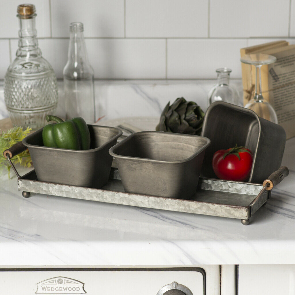 Triple Square Metal Planter Set on Galvanized Metal Tray with Wooden Handles