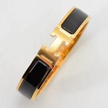 Authentic Hermes 2015 Black Enamel Gold H Clic-Clac Bracelet PM image 2