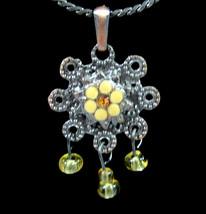 "Enamel FLOWER NECKLACE Vintage GLASS Yellow Beads Pendant Coppertone 16""... - $16.99"