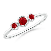 Angara Jewelry Round Natural Ruby Three Stone Ring in Silver/Gold Size 3-13 - $283.22+