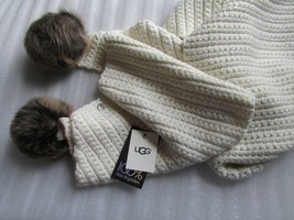 UGG Scarf Cream Knit Sequins Shearling Pom Poms NWD - $94.05