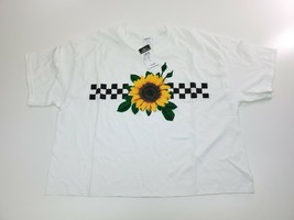 Rue 21 Crop Top Sunflower Checked White T-Shirt Size L - $12.95