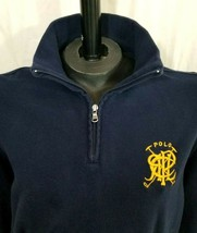 Polo Ralph Lauren Pullover Sweater 1/4 Zip Navy Blue Embroidered Logo Me... - $49.45