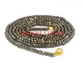 "Natural Pyrite Gemstone 3-4mm Rondelle Faceted Beads 28"" Long Beaded Nec... - $21.96"