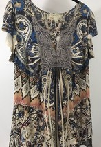 Dressbarn Boho Lace Neck Tunic Top Floral Blouse Shirt Size Large Paisley - $12.73