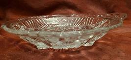 Vintage Divided Condiment Dish Double Handle Pressed Glass Fleur De Lis Pattern image 4