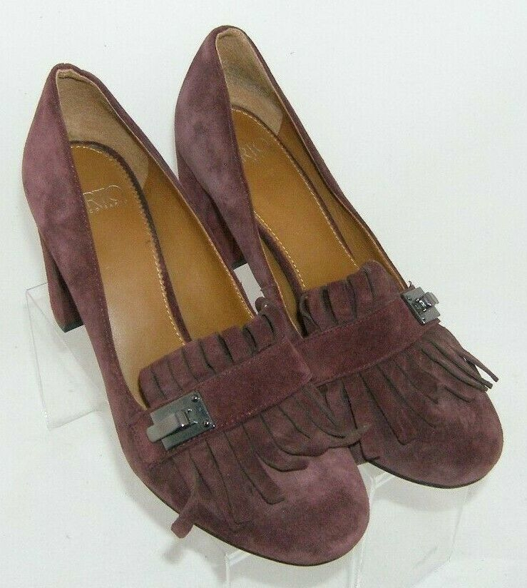 Franco Sarto 'Ainsley' purple suede buckle kiltie slip on block heels 7.5M image 8