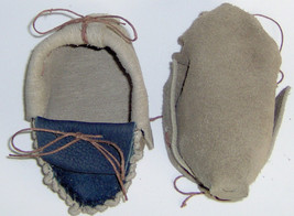 Two Tone Brown & Blue Leather Baby Moccasins,Hand Crafted Size 2-4 infant  - $30.95