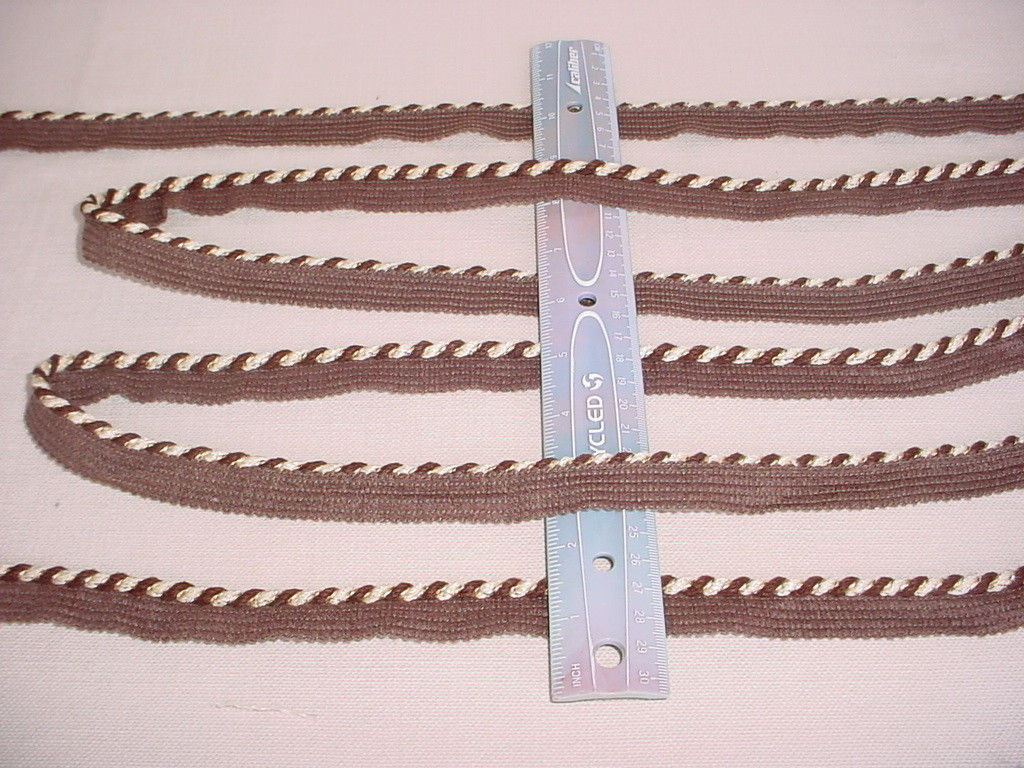 12y AMERICAN TRIM CD0297-01-13 CHOCOLATE / CREME WHITE CORDING UPHOLSTERY TRIM