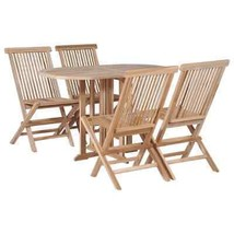 vidaXL Solid Teak Folding Dining Set 5 Piece Drop Leaf Table Chairs Outdoor - $320.99