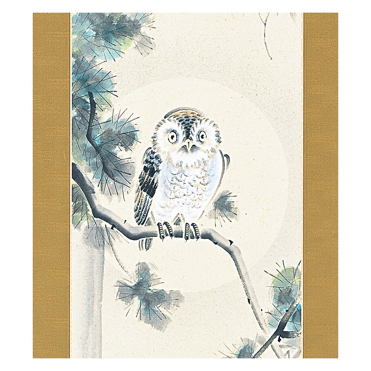 Tokyo Art Gallery ISHIHARA - Japanese Hanging Scroll - Kakejiku : Owl / Fukur... - $1,004.85
