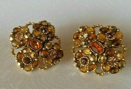 Vintage Joan Rivers Gold-tone Topaz Color Rhinestone Floral Clip-on Earrings - $45.00