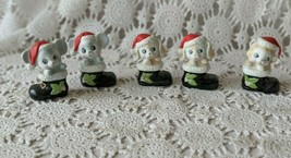 Homco Ceramic Mice Cats Dogs In Boots Christmas Decorations Set of 5 - $8.72