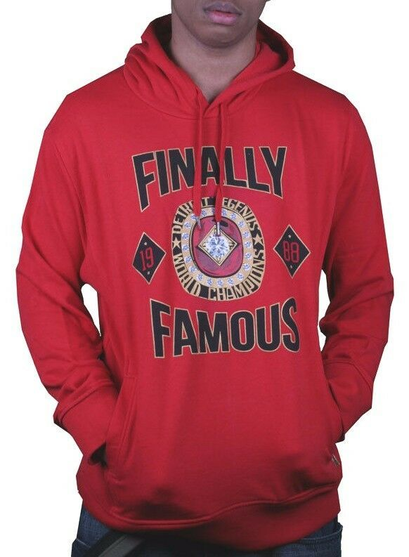 Finally Famous Mens Red Detroit Legends Champions Hoody Big Sean Hooded Sweater
