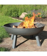 34 Inch Large Round Bonfire Wood Burning Cast Iron Outdoor Fire Pit  - $335.00