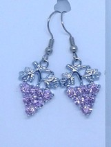 "Earrings Pink Crystal Grape Cluster Leaves Vines 1"" Long Sterling Wires - $13.25"