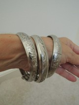 Bangle Bracelets 3 Intricate Embossed Silver Metal Costume Jewelry Bangl... - $24.74
