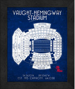 "Ole Miss Vaught-Hemingway ""Retro"" Stadium Seating Chart 13x16 Framed Print  - $39.95"