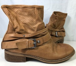 Marc Fisher Womens Rosan Ankle Boots Brown Buckle Perforated Pull On 5.5 M - $49.49