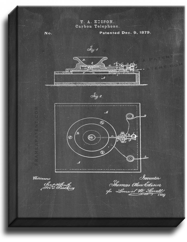 Primary image for Edison Carbon-telephones Patent Print Chalkboard on Canvas