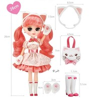 """Cute Pink Cat Jury Role Play Toy Maron Doll 10.2"""" with Accessories Playset Set image 2"""