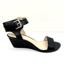 Nine West Wedge Sandals Size 8.5 M Black Ankle Strap Shoes Black 8.5m - $14.01