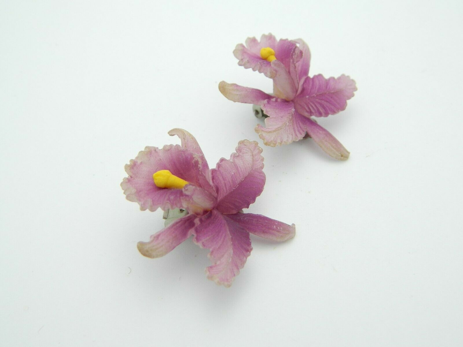 Purple Celluloid Orchid Clip Earrings Vintage Western Germany