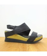 37 / US 6.5 - Antelope Black Hook Loop Open Tie Ankle Strap Wedge Sandal... - $55.00