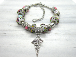 Nurse or Doctor Themed European Murano Beaded Bracelet. Gift bag included - $19.95